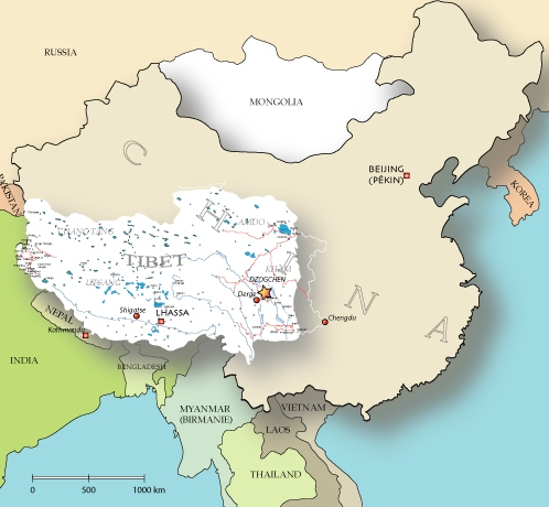 Map of Dzogchen region, in Tibet